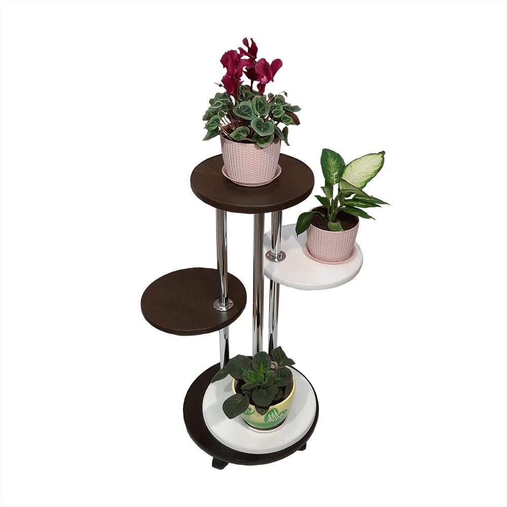 Напольная подставка для цветов «Флора-2» цвет черно-белый