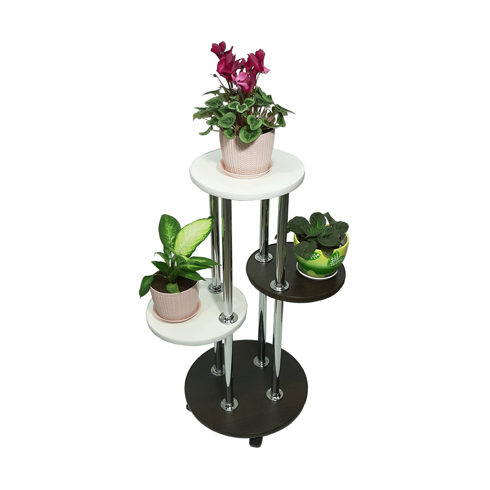 Напольная подставка под цветы «Веста» цвет черно-белый